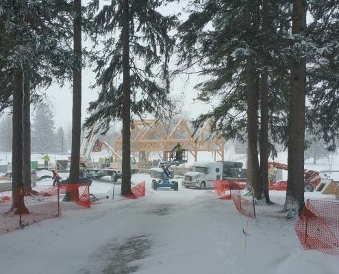 Lakelawn timber frame barn snow