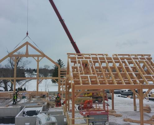 Lakelawn timber frame barn 2