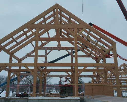 Lakelawn timber frame barn 3