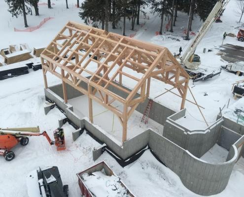 Lakelawn timber frame barn aerial