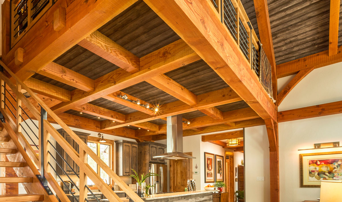 Elk Thistle kitchen ceiling beams - Colorado Timberframe