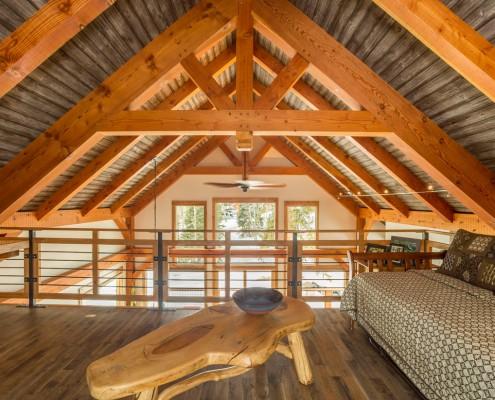 Elk Thistle timber frame loft trusses