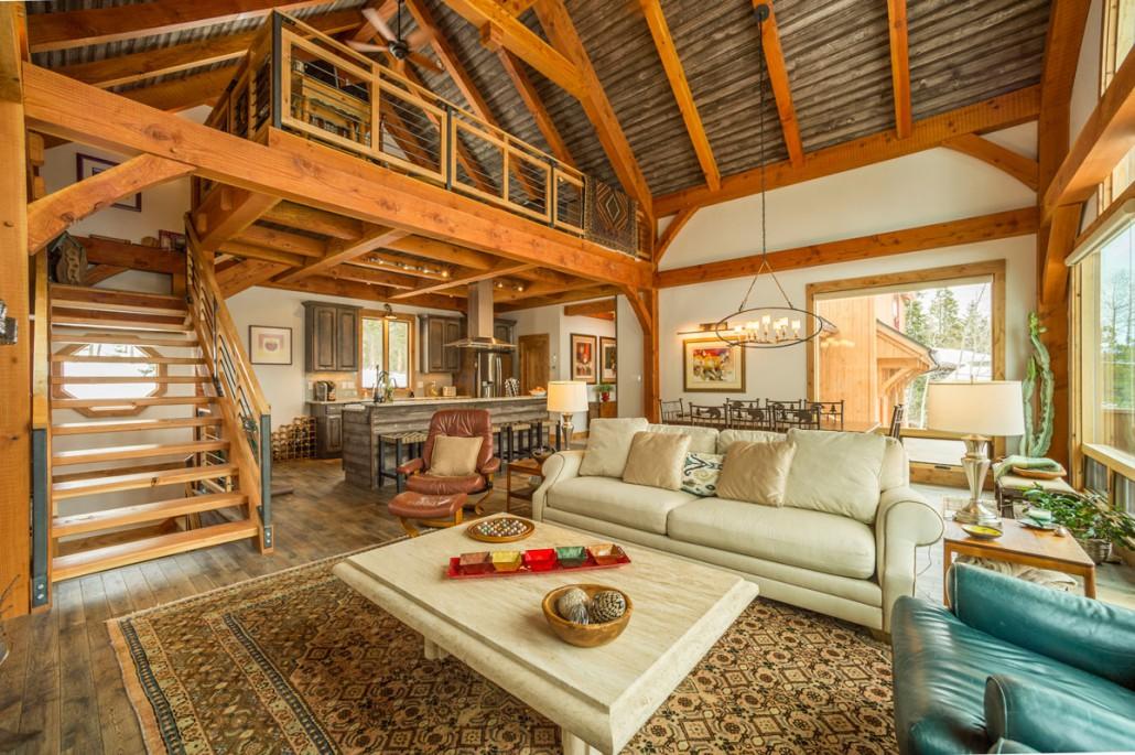 Elk Thistle timber frame living room