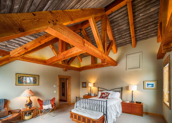 Elk Thistle timber frame master bedroom