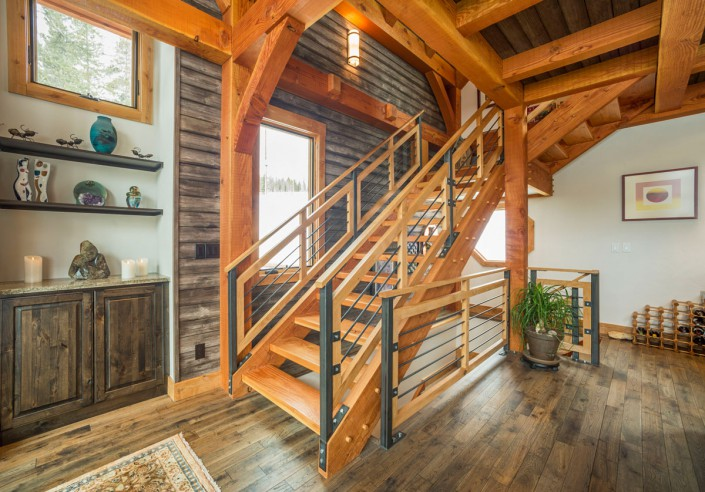 Elk Thistle timber frame stairs
