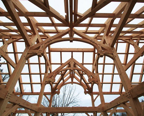 Lakelawn timber frame barn trusses
