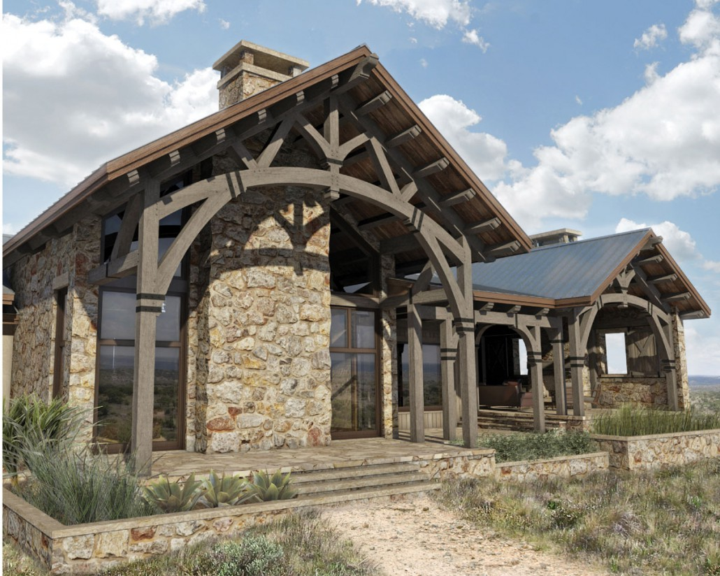 Hill country ranch colorado timberframe for Timber frame ranch home plans