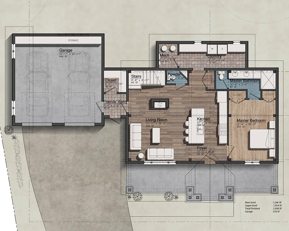 Colorado Timberframe Magnolia floor plan main level