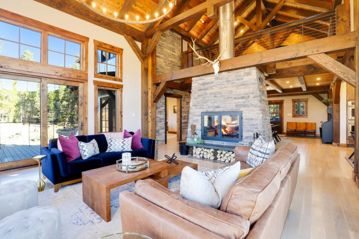 timber frame and stone fire place