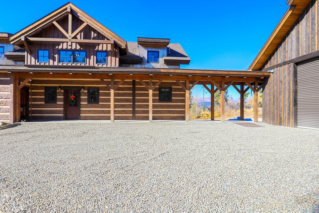 rustic timber frame mountain house